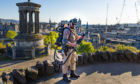 EDINBURGH, SCOTLAND - MAY 06: A person dressed as a Ghostbuster at Calton Hill is pictured during the ongoing coronavirus pandemic, on May 06, 2020, in Edinburgh, Scotland. (Mark Scates / SNS Group)