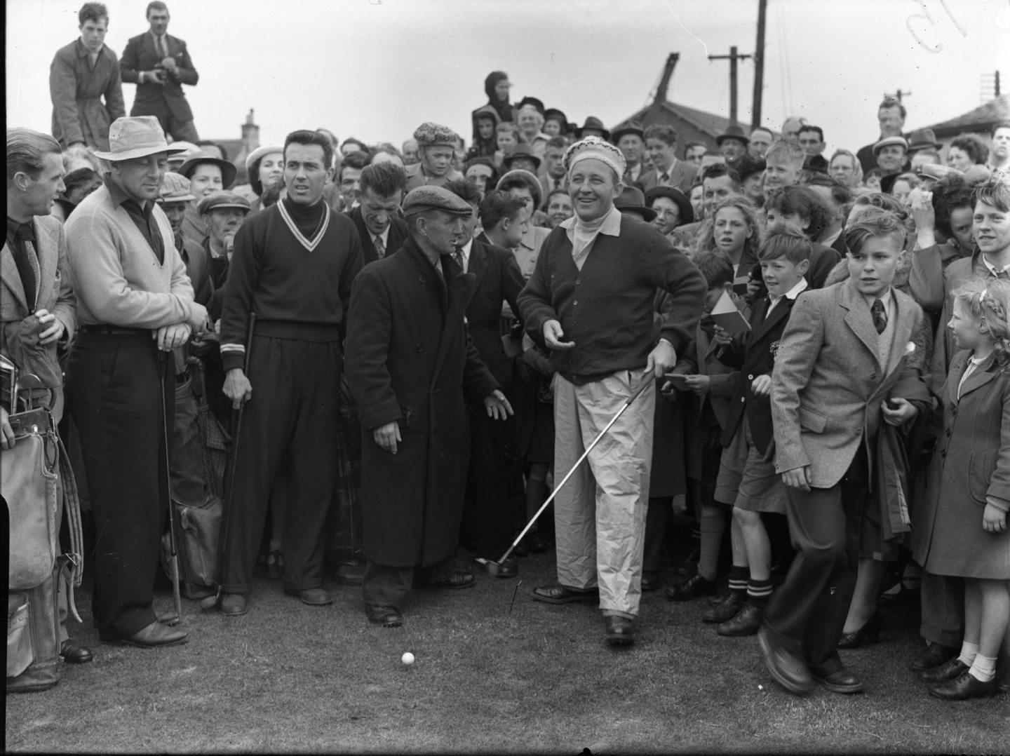 Bing Crosby in St Andrews, playing in the British Amateur Golf Tournament in 1950