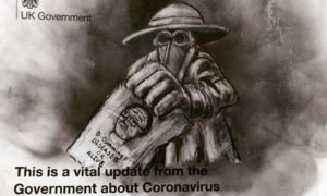 Frank To has produced a series of Covid-19 themed pieces using imagery from his 2011 Plague Doctors work