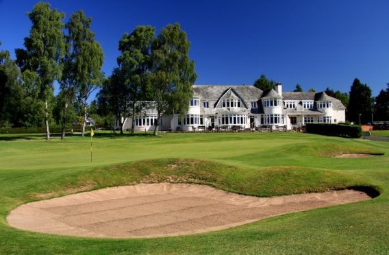 The 18th green of Rosemount and the Blairgowrie clubhouse.