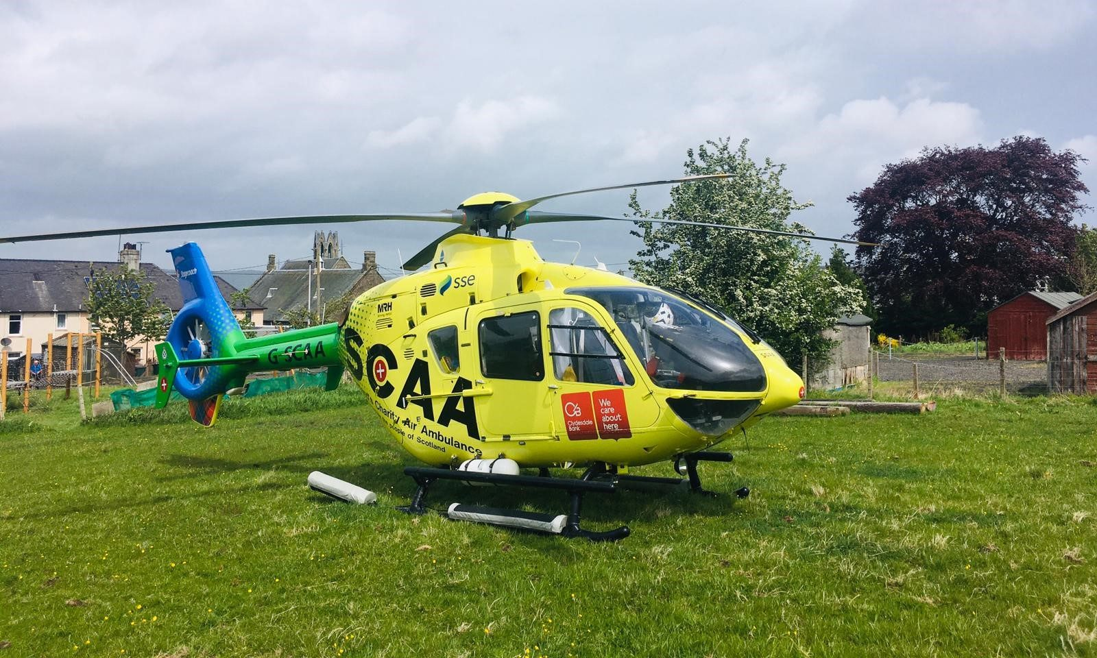 The SCAA helicopter landed in a field at the top of Kirk Wynd.