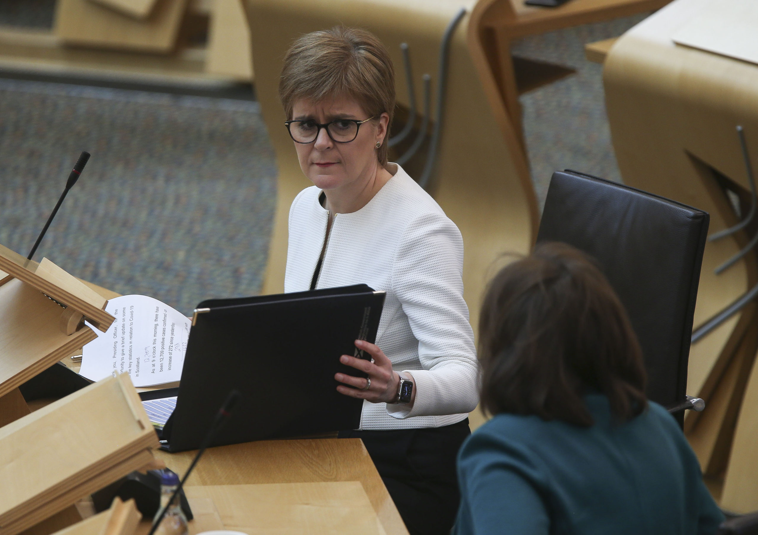 Nicola Sturgeon during Covid-19 social distancing First Minister's Questions at the Scottish Parliament.