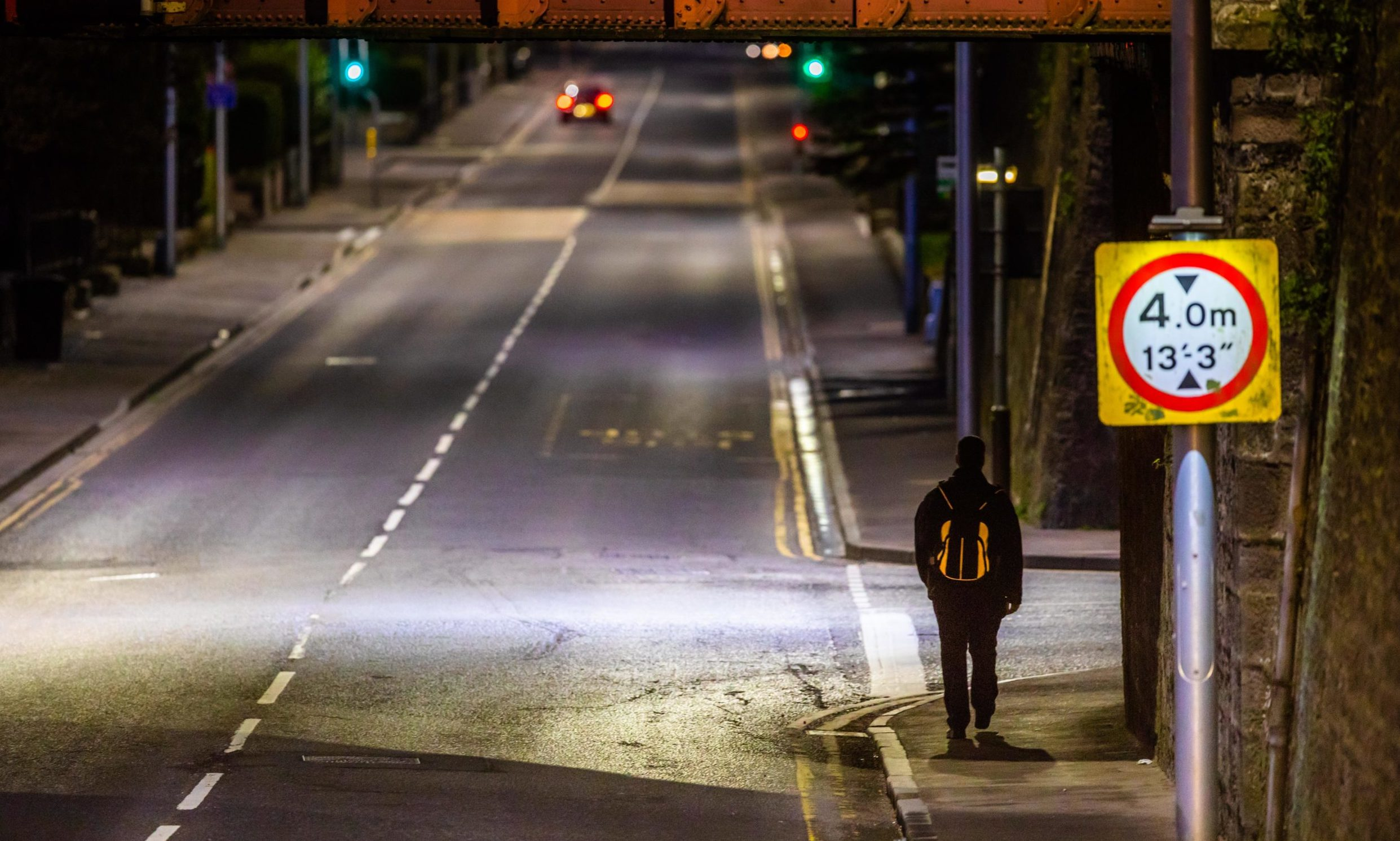 Picture shows empty roads and streets - looking from St Leonard's towards Marshall Place, Perth, during lockdown.