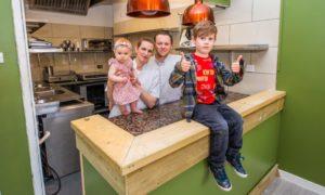 David Barnett and partner Marie Schade-Weskott and children William Barnett and Sophie Rose Barnett in their new premises. Blasta.
