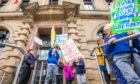 Demonstrations were held before Abernytes school was closed.