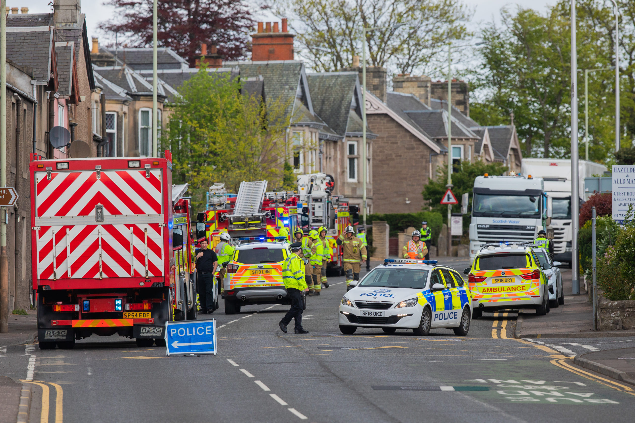 The scene of the collision in Bridgend.