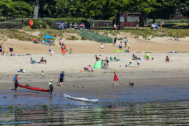 Silver Sands was busy with people enjoying the sunshine and easing of lockdown restrictions.