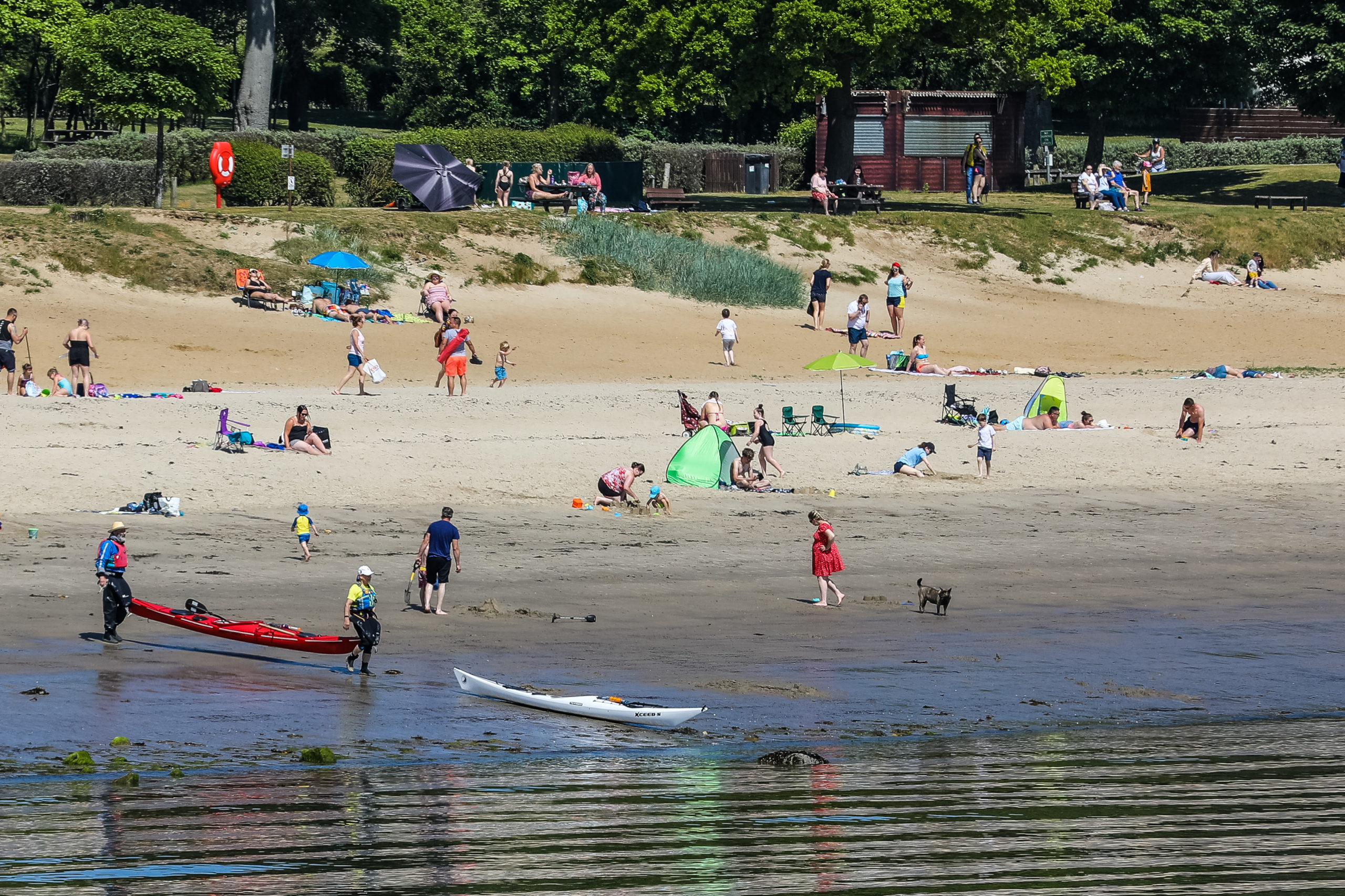 Canoeists take to the water off Silversands Beach in Aberdour.