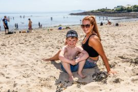 Aysa-Harrison Conroy, 4, and mum Chelsea were among those at Silver Sands, Aberdour.