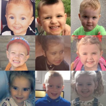 From top left, Finn Carson age 4, Neo Hodge Age 4, Keir Courts Age 3, Arlo Howieson Age 3, Aaliyah Foley Age 4, Ava-Rose Wilson Age 4, Gracie Beveridge Age 3, AJay O'Donnell Age 4 and Elyse Maxwell Age 3.