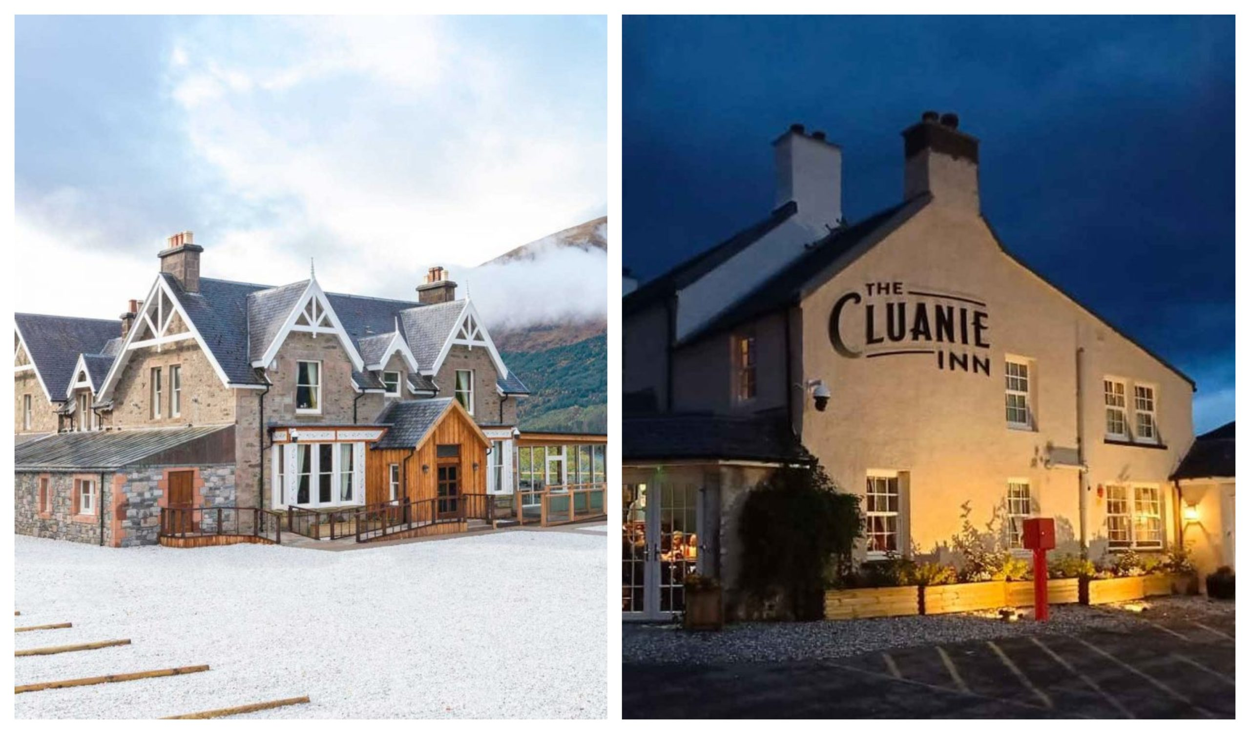 The Cluanie Inn and the Whispering Pine Lodge.