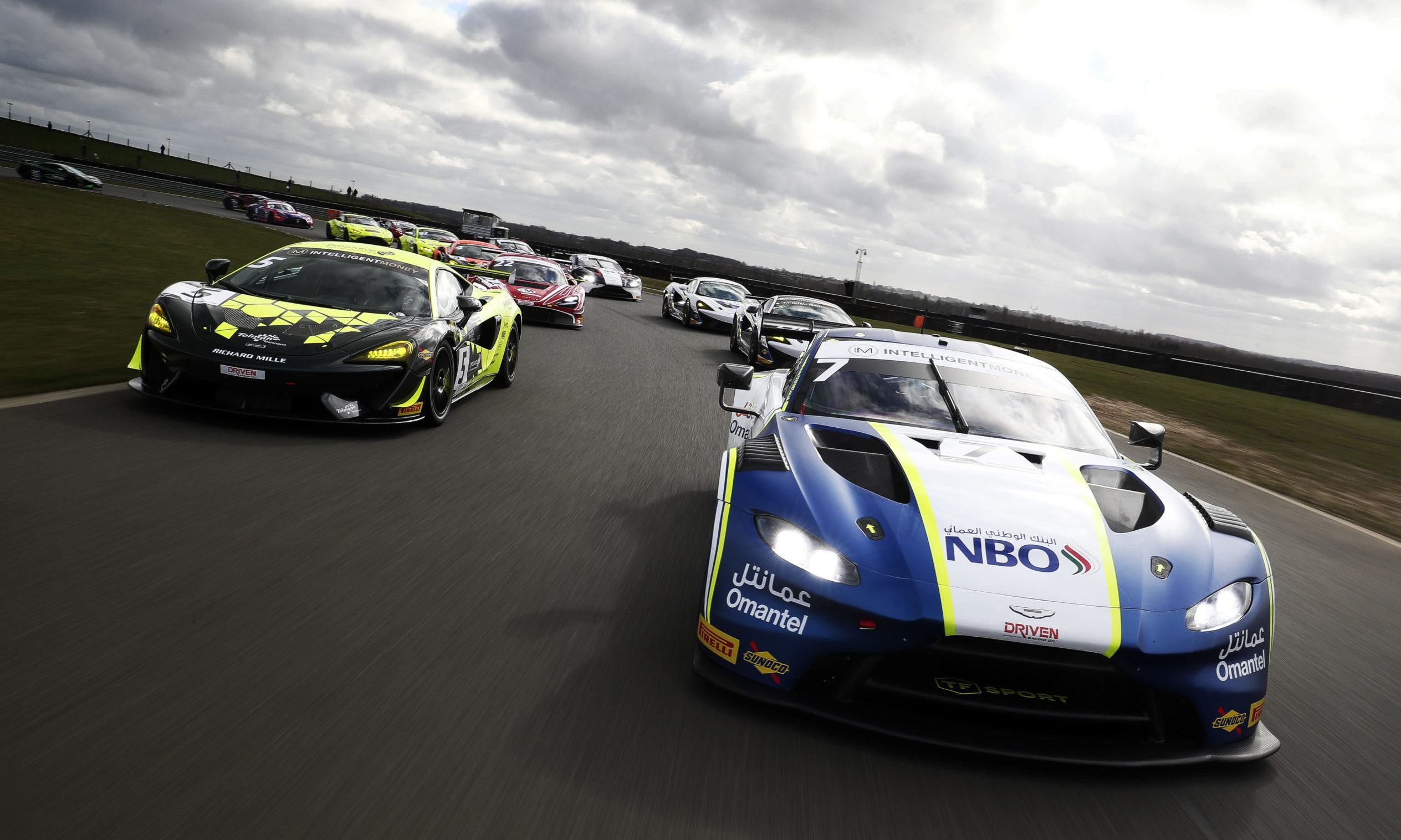 Jonny Adam/Ahmad Al Harthy Aston Martin Vantage GT3 leads the way at the 2020 British GT media day in March.
