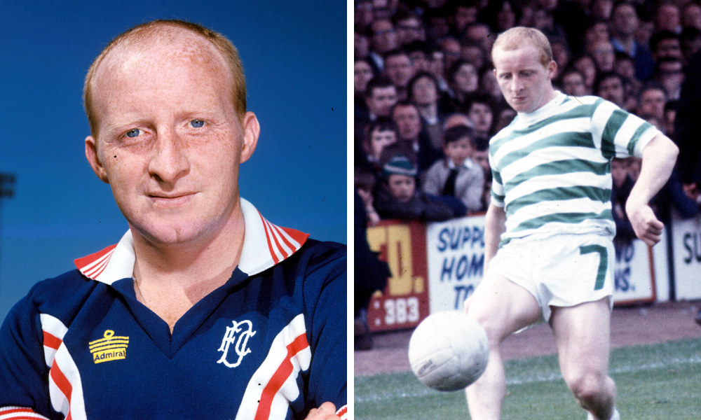 Celtic great Jinky pictured after joining the Dark Blues, left