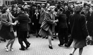 Crowds celebrating in Dundee city centre on VE Day: May 8, 1945