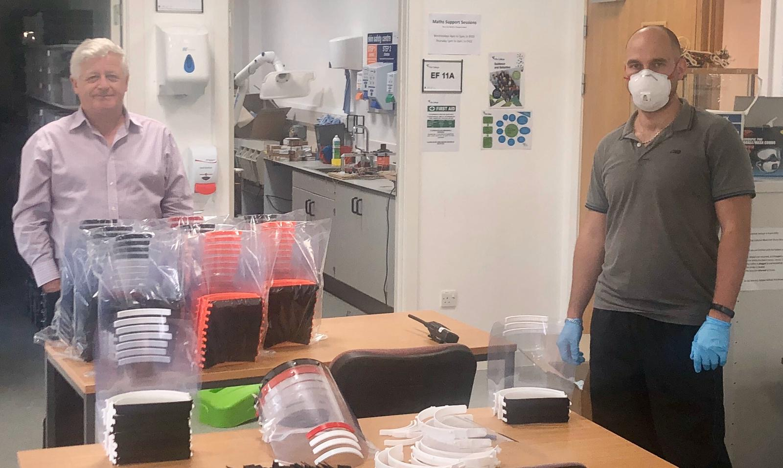 Fife College Principal, Hugh Hall (left) and engineering lecturer Vlastimil Hovan (right) are pictured at the College's Glenrothes Campus where safety visors are being manufactured to support the ongoing fight against COVID-19.