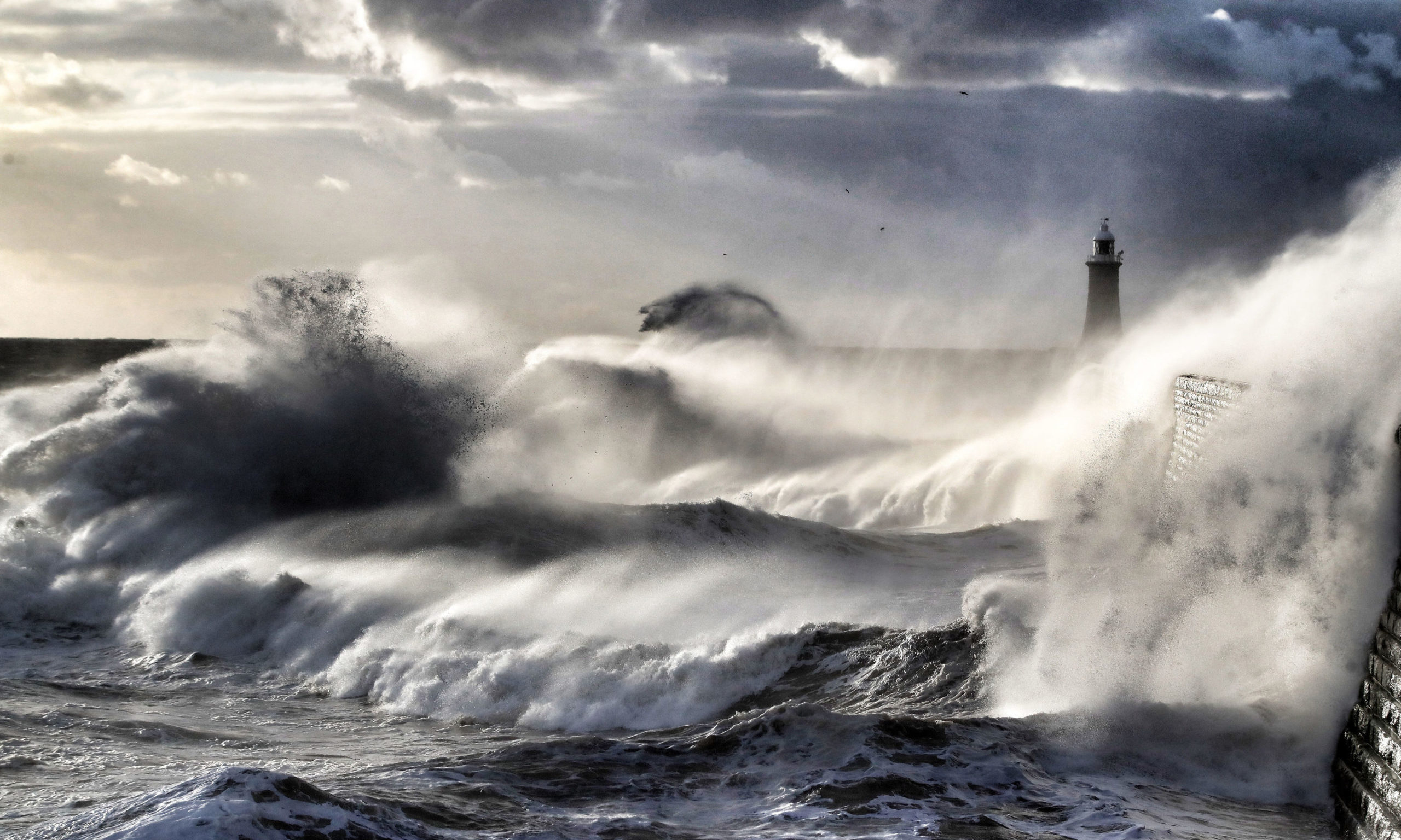 Waves crash at Tynemouth pier on the North East coast. PA Photo. Picture date: Monday May 11, 2020. Photo credit should read: Owen Humphreys/PA Wire