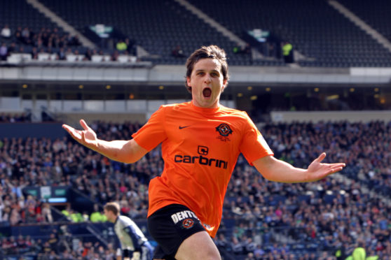 Craig Conway celebrates scoring against Ross County in Scottish Cup Final a decade ago