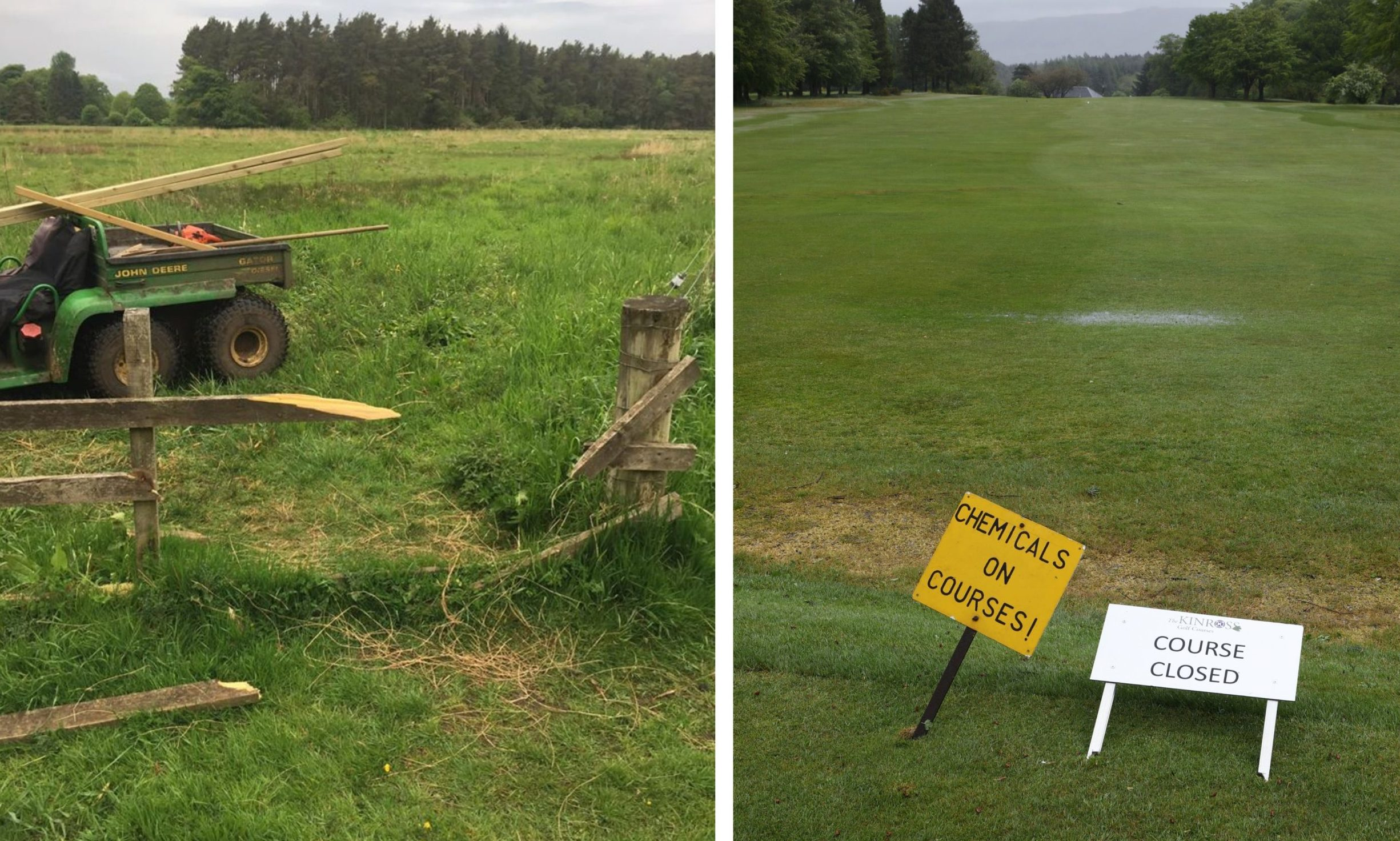 Damage at the golf course.