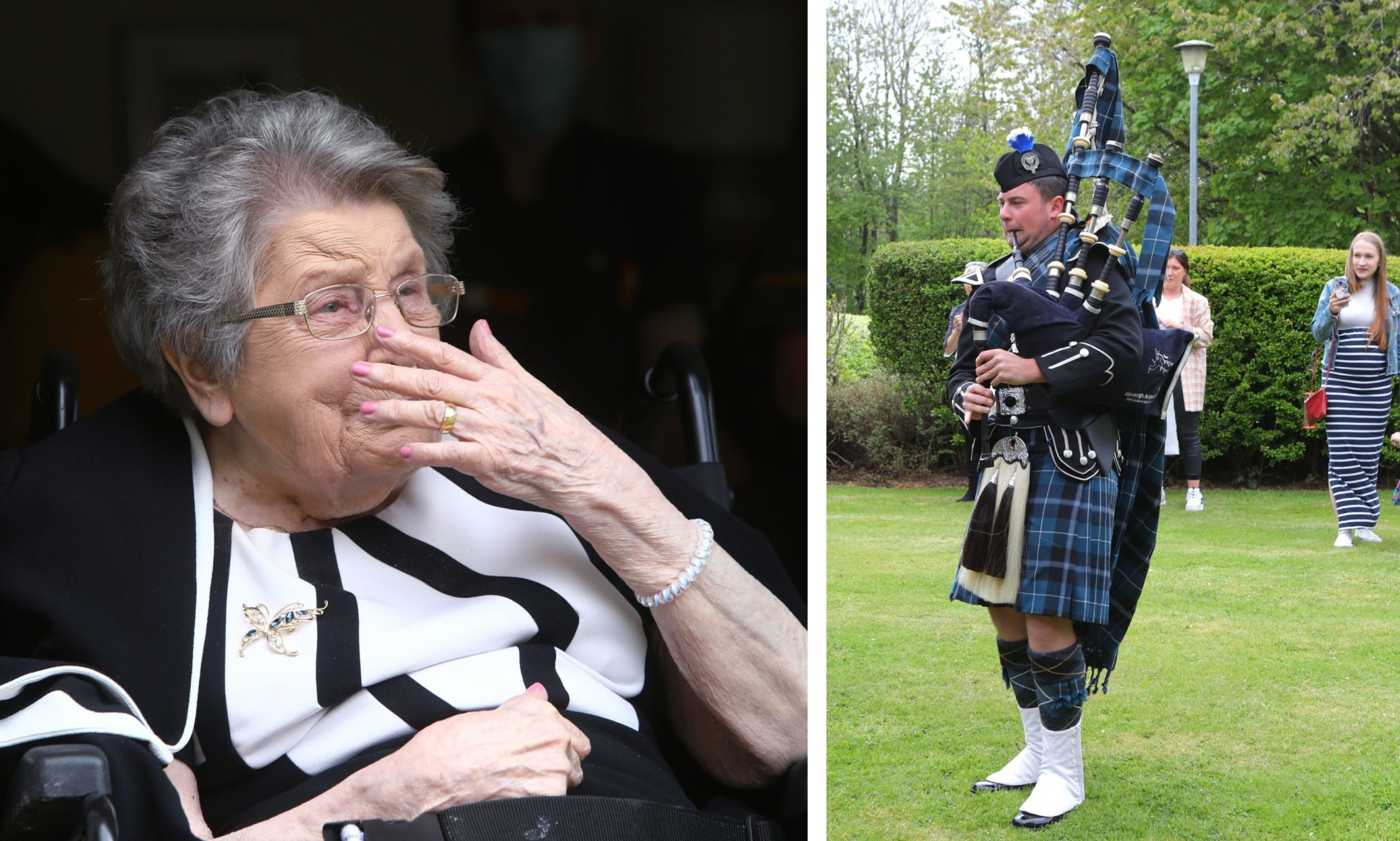 Doreen celebrating her birthday with a tune from a piper.