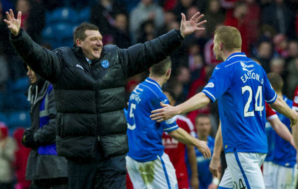 Tommy Wright celebrates getting to the Scottish Cup final with Brian Easton.