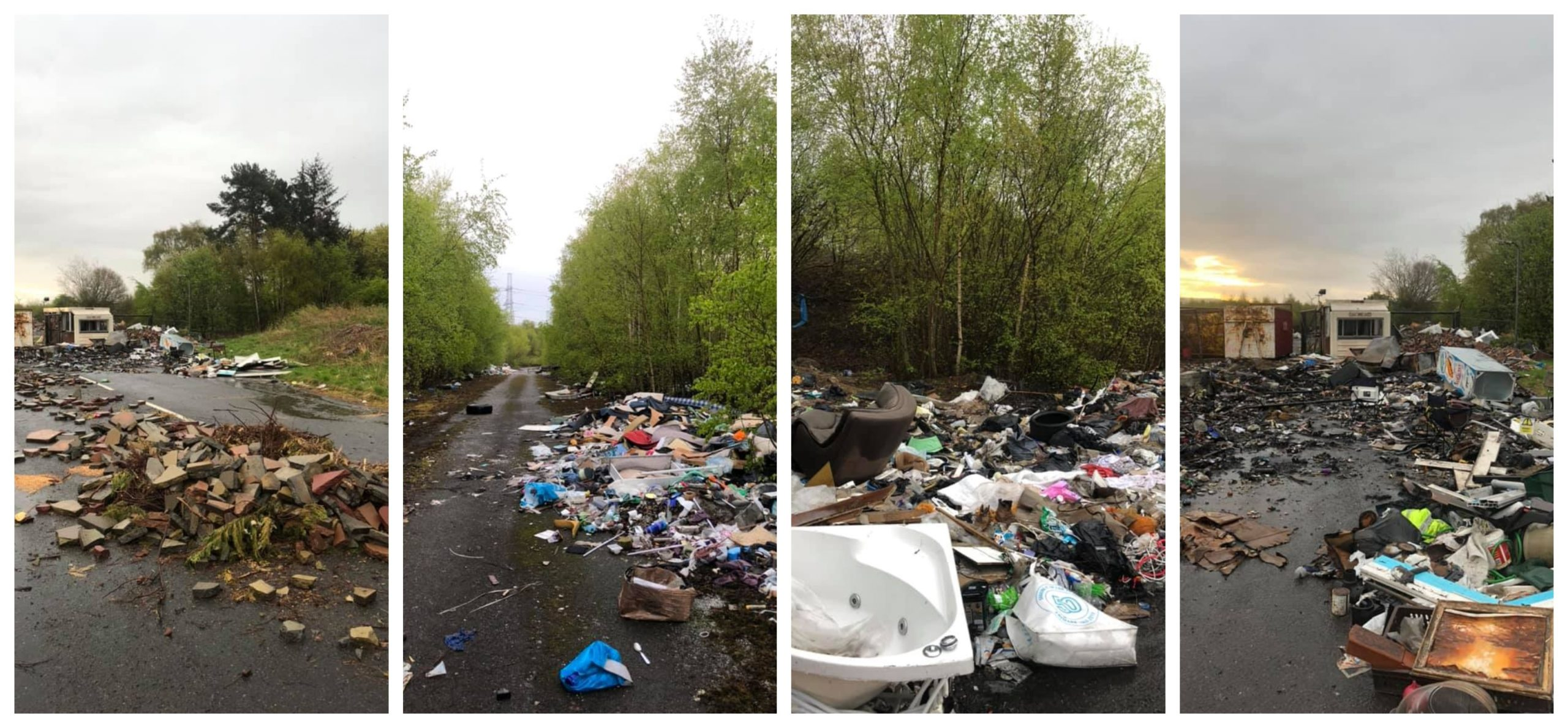 A rise in fly-tipping incidents, like these in Lochgelly, Fife, have been blamed on the recycling centres being closed.