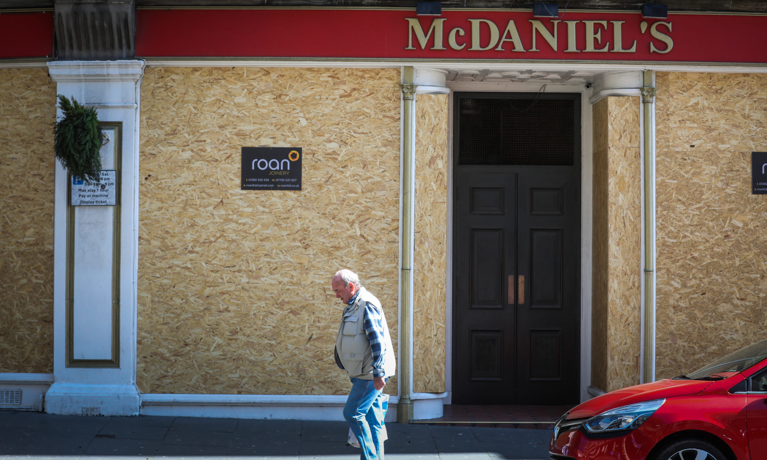 A boarded-up McDaniel's in Dundee during the initial lockdown.