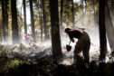 Landowners have been helping firefighters battle the blaze in woodland on Mount Hill, near Cupar.