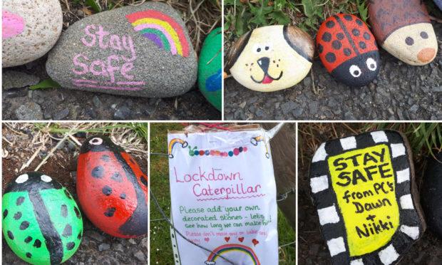 Stones from the Monifieth Lockdown Caterpillar.