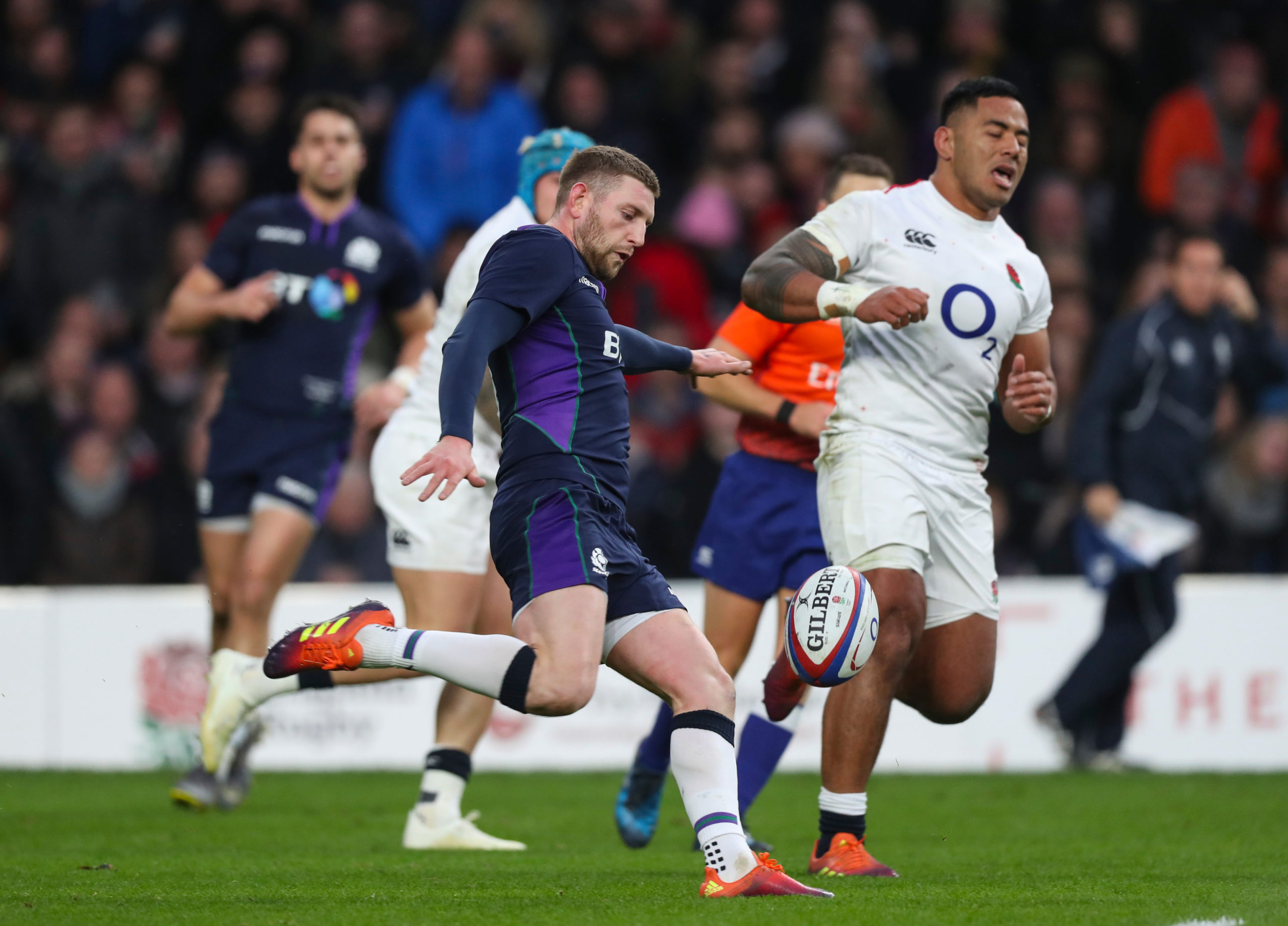 Finn Russell kicks during the second half of the Calcutta Cup game in 2019, something he did a lot more than the myth suggests.