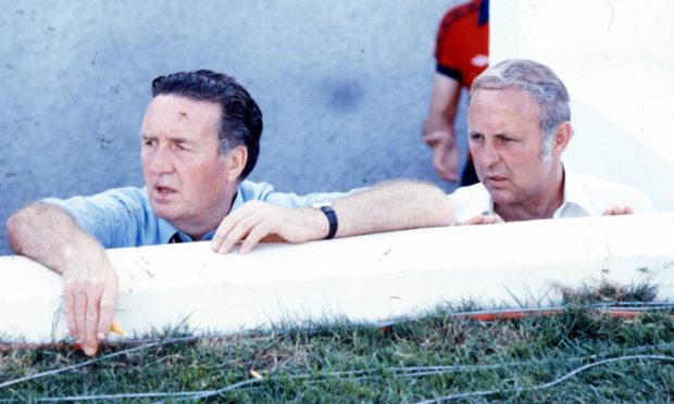 The late Jock Stein alongside Jim McLean.