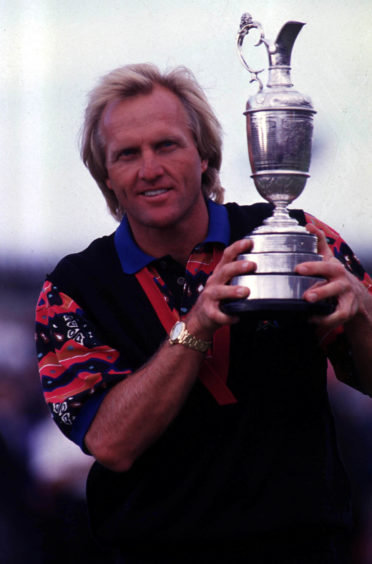 Greg Norman won two Open championships, in 1986, above, and 1993