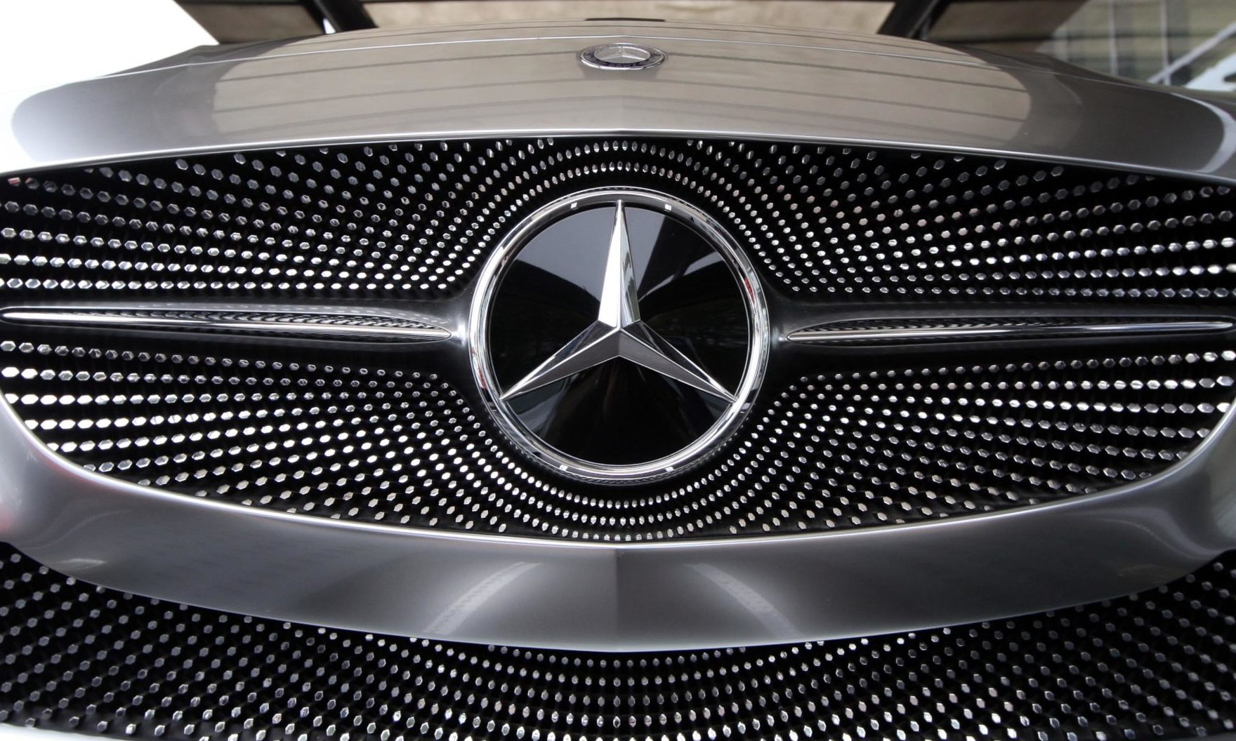 Stock photo of the Mercedes badge.