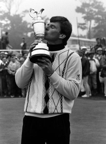 Faldo kisses Claret Jug after winning 1987 Open at Muirfield