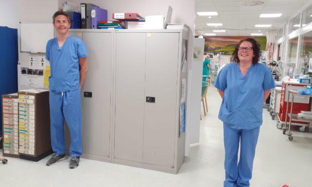 ICU staff nurses Kirstie Skinner and Kevin Clark.