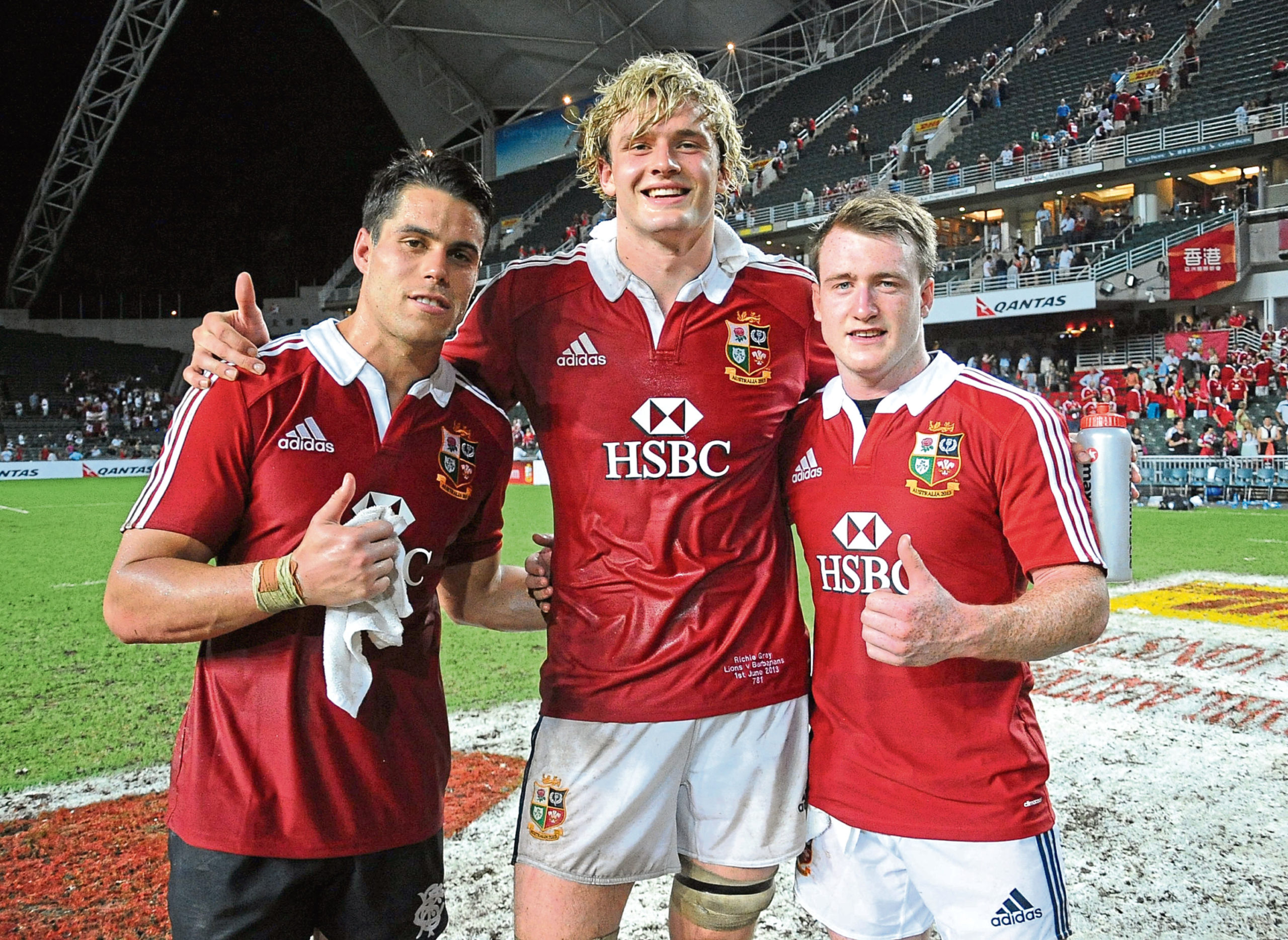 Scotland contingent of Lions (L to R) Sean Maitland, Richie Gray and Stuart Hogg give a thumbs up after victory during 2013 British & Irish Lions tour
