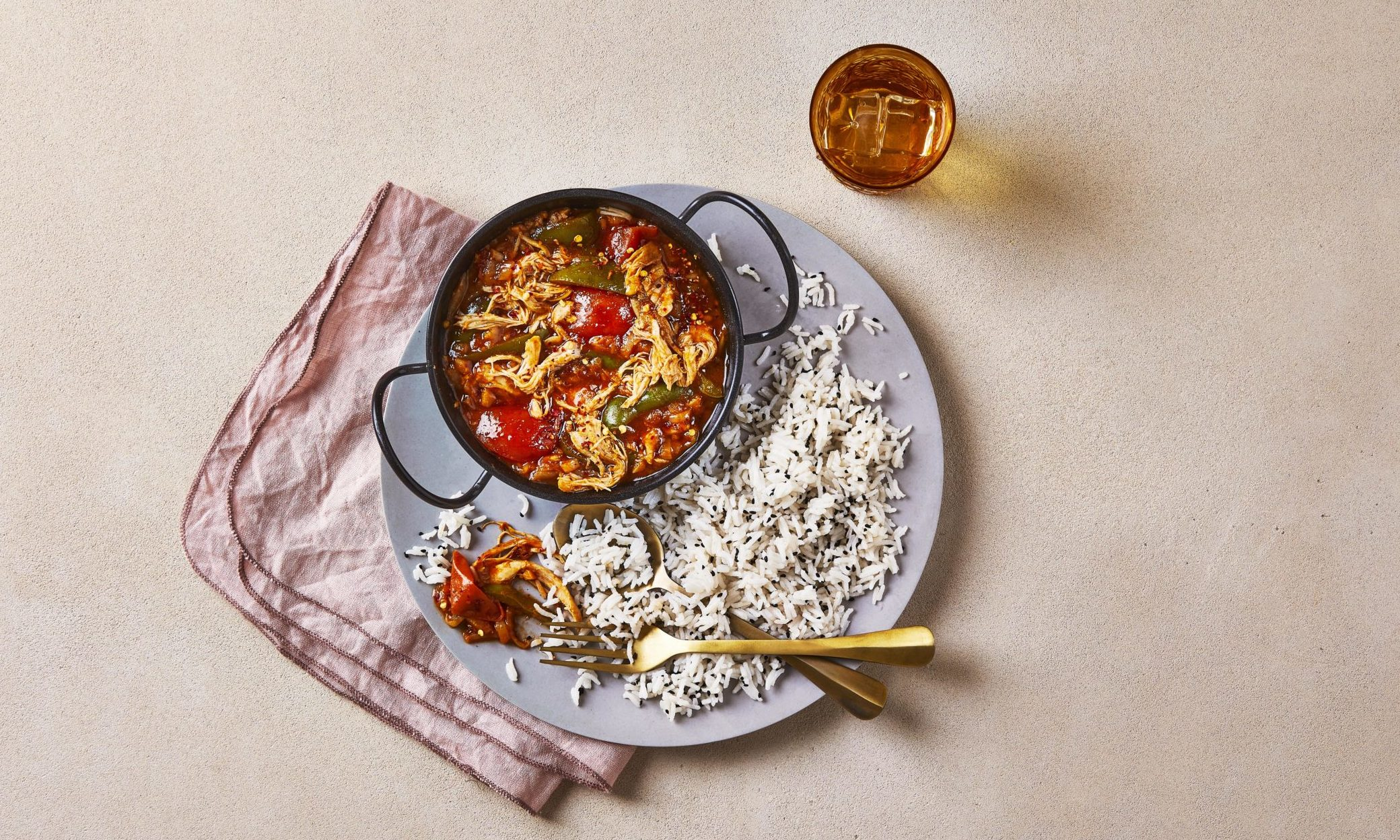 Mouth-watering chicken jalfrezi with fragrant basmati rice.