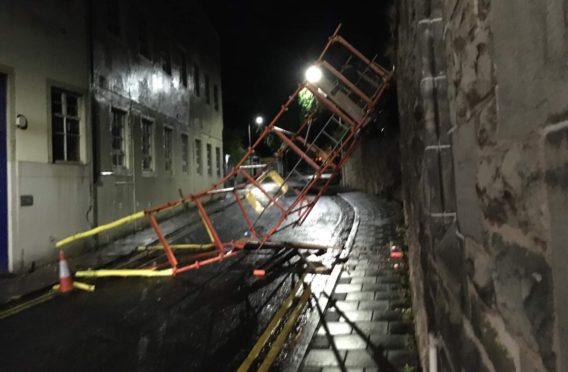 The scaffolding fell across Kirk Wynd.