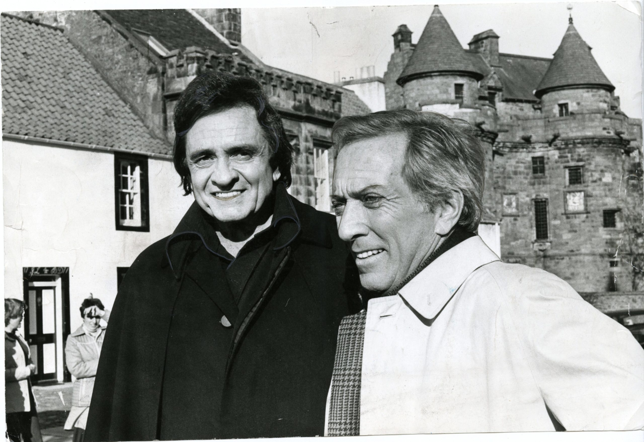 Singers Johnny Cash and Andy Williams pictured at Falkland Palace.