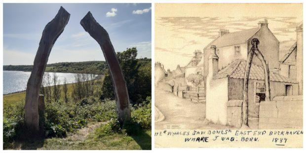 """A modern oak """"jawbane"""", left, and an original jawbane from 1889."""