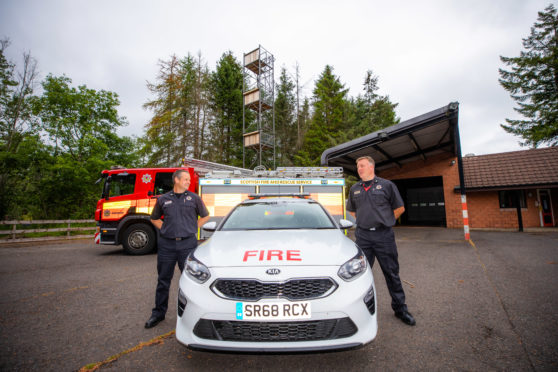 Crew Manager Matthew McLay and Watch Manager Ben Liversedge of Comrie Fire Station. Picture: Steve Macdougall.