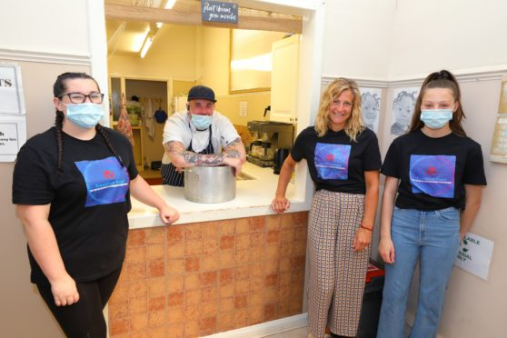 Chef Connor Taylor with volunteer helpers Sarah Robertson, Avril Muir and Ellie Muir.