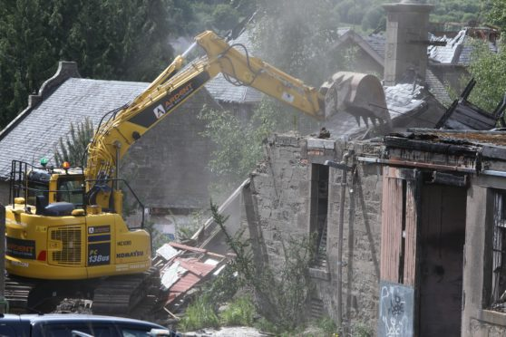 Demolition work starting at Strathmartine Hospital.