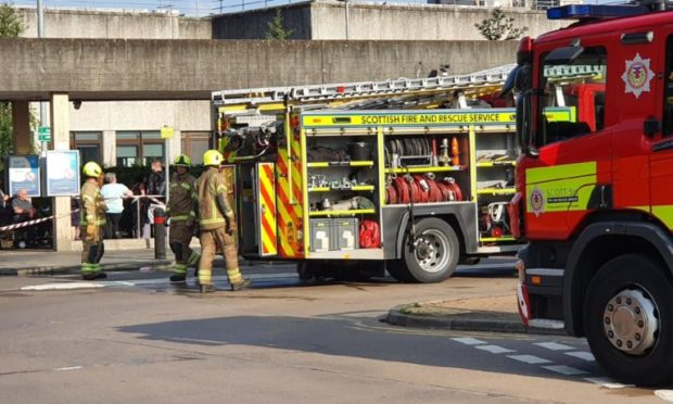 Six appliances called to Ninewells Hospital after a fire in the toilet block.  Pics submitted by Liam Richardson