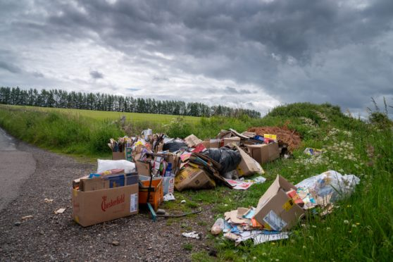 Fly tipping on the outskirts of Auchterhouse. Picture by Kenny Smith.