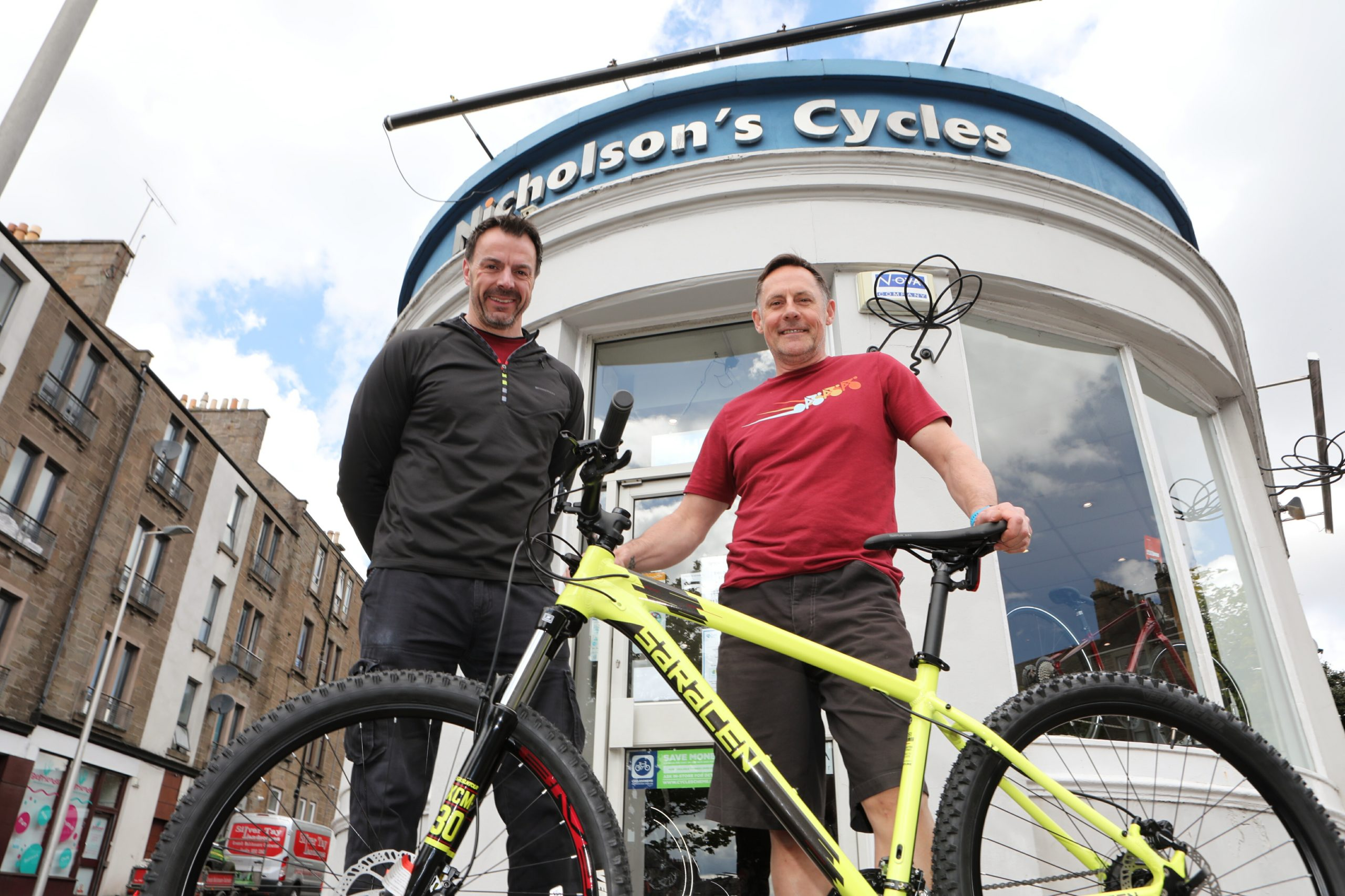Colin Murray (right), owner of Nicolson's Cycles, with sales manager Mark Griffin.
