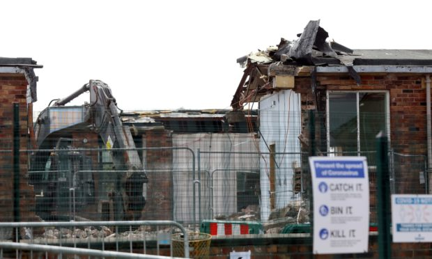 Demolition work on the old Hayshead Primary School.
