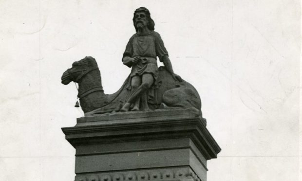 [Statue above gate of] Bowbridge Works, Dundee.