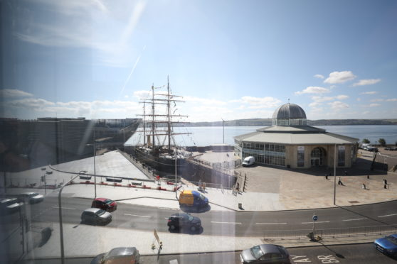A view of Dundee Waterfront from the Sleeperz Hotel.