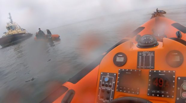 Kinghorn Lifeboat Crew managed to escort the stranded vessel to safety.