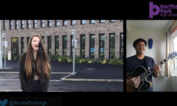 Bertha Park pupil Livi performs with Amy Winehouse guitarist Robin Banerjee.
